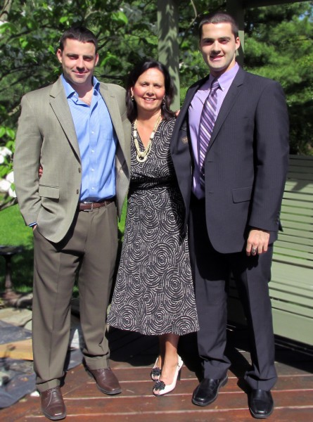 Author Liz Barker and her sons James and Bryan Barker
