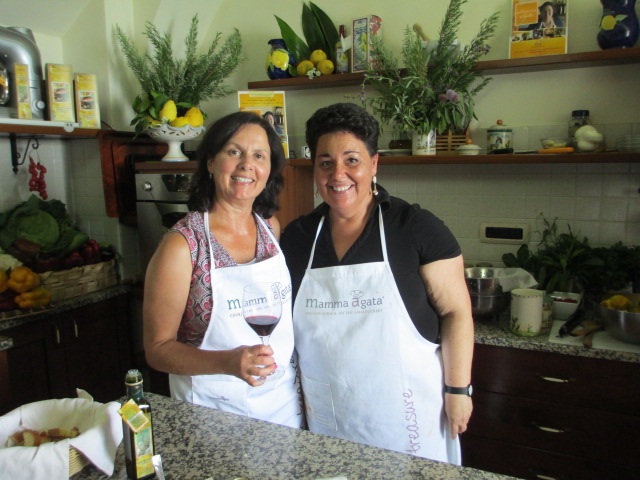 Liz Barker at Mamma Agata Cooking School Italy